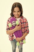 Penny Board Girl. Girl With Penny Board. Hipster Child Hold Skate Penny Board. Penny Board In Hands  poster