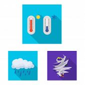 Vector Illustration Of Weather And Climate Symbol. Set Of Weather And Cloud Stock Symbol For Web. poster