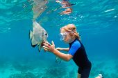 Happy Family - Active Kid In Snorkeling Mask Dive Underwater, See Tropical Fish Platax ( Batfish ) I poster