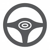 Steering Wheel Glyph Icon, Auto And Drive, Car Wheel Sign, Vector Graphics, A Solid Pattern On A Whi poster