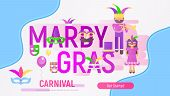 Mardi Gras Invitation Banner. Carnival Symbols And Objects On Holiday Poster - Mask With Feathers, J poster