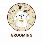 Cute Dog  At Groomer Salon. Pet Grooming Concept.  Vector Illustration For Pet Hair Salon, Styling A poster