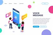 Isometric Voice Message Concept. Use Your Phone To Exchange Voice Messages. People Communicate Using poster