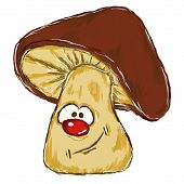 stock photo of face-fungus  - painted funny mushroom with comic face  - JPG