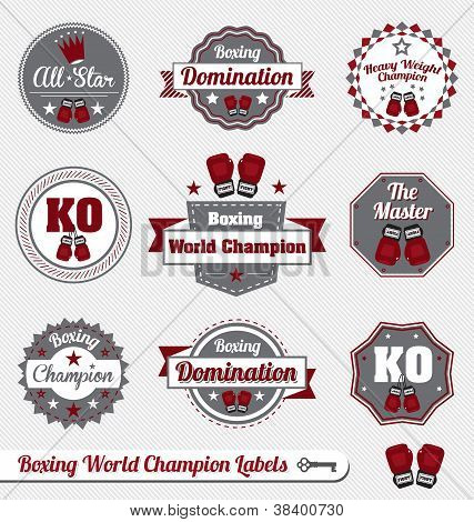 Vintage Boxing Champion Labels