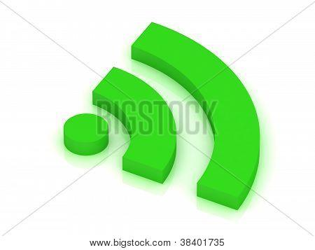 isoliert auf weiss grün Rss-symbol