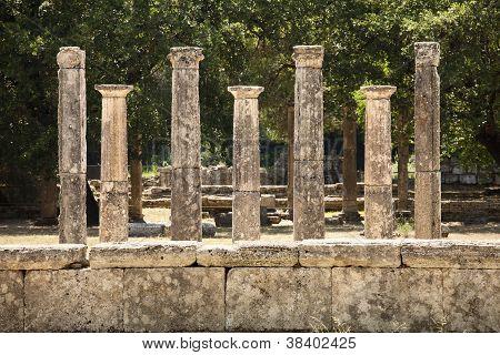 Seven Greek Pillars At Olympus