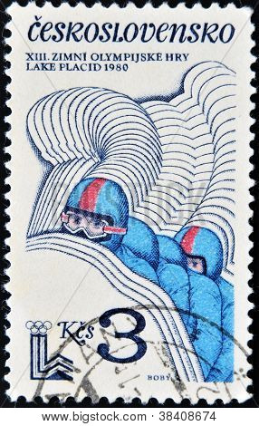 CZECHOSLOVAKIA - CIRCA 1980: A stamp printed in Czechoslovakia dedicated to Winter Olympics