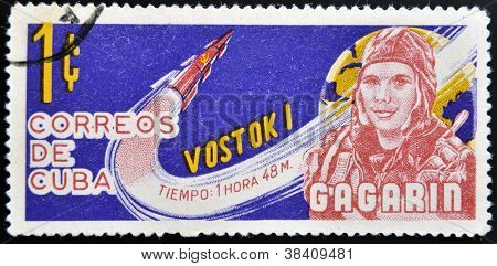 CUBA - CIRCA 1963: A stamp printed in Cuba shows Gagarin and rocket Vostok 1 circa 1963