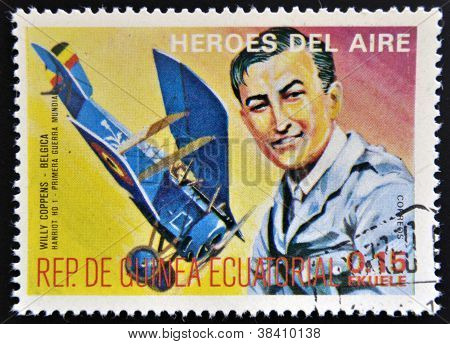 EQUATORIAL GUINEA - CIRCA 1974: stamp printed in Guinea dedicated to air heroes shows Willy Coppens