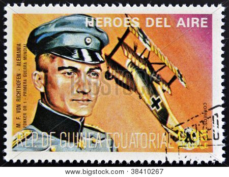 EQUATORIAL GUINEA - CIRCA 1974: stamp printed in Guinea dedicated to air heroes shows M. F. Von Rich