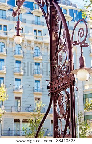 Famous Modernist Streetlamp In Barcelona, Catalonia