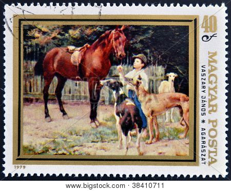 HUNGARY - CIRCA 1979: A stamp printed in Hungary shows draw by Vaszary Janos - Hunting Dogs circa 19
