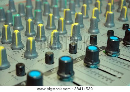 Details Of The Control Board Sound Mixer