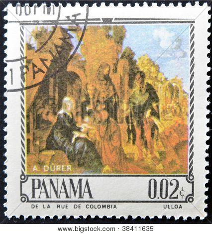 PANAMA - CIRCA 1967: A stamp printed in Panama shows The Adoration of the Magi by Alverto D�rer ci