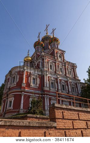 The old red-stone Russian Orthodox church