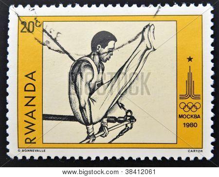 RWANDA - CIRCA 1980: A stamp printed in Rwanda shows athlete circa 1980