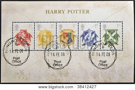 UNITED KINGDOM - CIRCA 2007: Stamps printed in Great Britain shows Hogwarts Crests Harry Potter circ