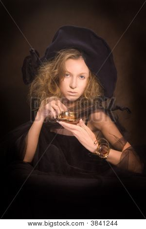 Young Lady With A Coffee Cup