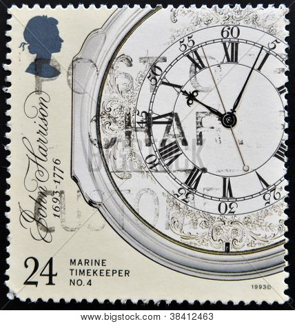 UNITED KINGDOM - CIRCA 1993: a stamp printed in the Great Britain shows Marine Chronometer by John H