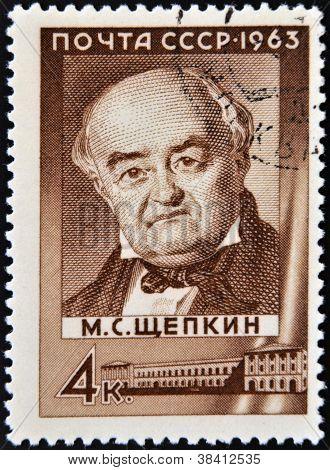 USSR - CIRCA 1963: A stamp printed in Russia shows Mikhail Shchepkin circa 1963