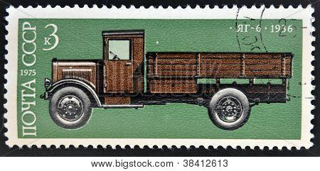 USSR - CIRCA 1974: A stamp printed in Russia shows russian retro car YAG 1936 Circa 1974.