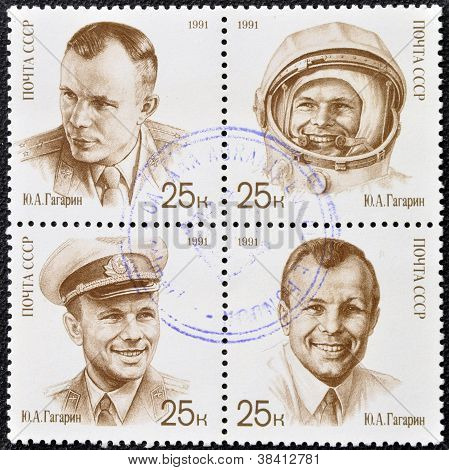 USSR- CIRCA 1991: A stamp printed in Russia shows cosmonaut Yuri Gagarin circa 1991