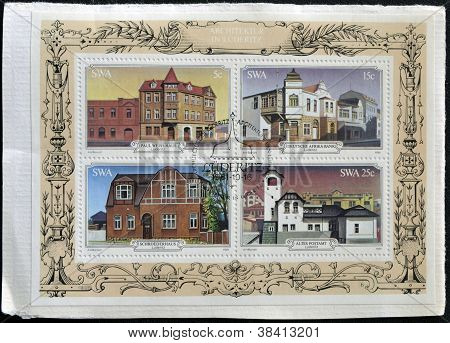 SOUTH AFRICA - CIRCA 1981: Stamps printed in South Africa shows Luderitz historic buildings circa 19