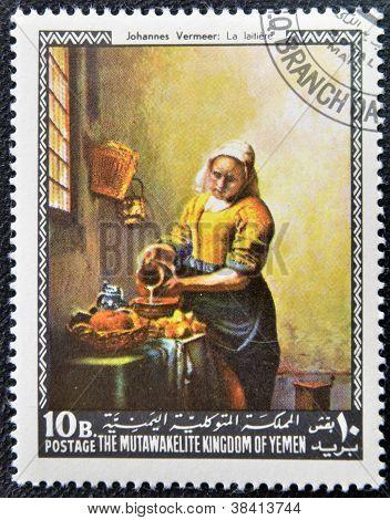 YEMEN - CIRCA 1968: Un sello imprimido en espectáculos de Yemen la lechera de Johannes Vermeer, circa 1968