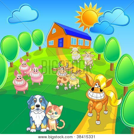 Vector Set Funny Cartoon Farm Animals