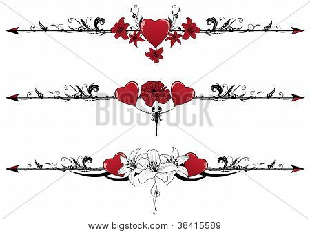 Set Of Valentine  Borders