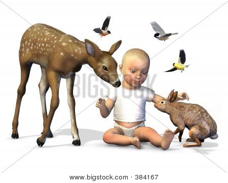 Baby With Forest Animals