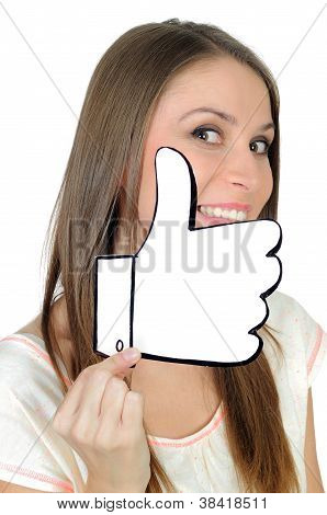 Young woman with a positive hand made like sign