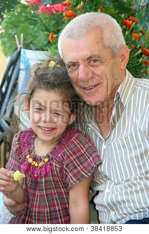 grand father and grand doughter portrait