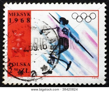 Postage stamp Poland 1968 Women's Javelin, Olympic sports, Mexico 68