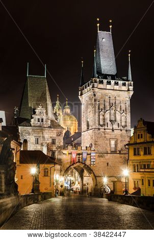Towers Of Mala Strana, On Charles Bridge, Prague