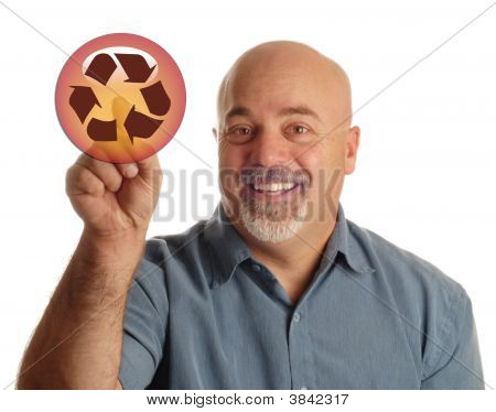 Man  Pointing At Recycle Button