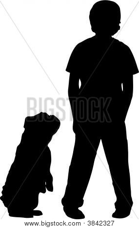 Boy Standing With Bulldog Begging Silhouette.