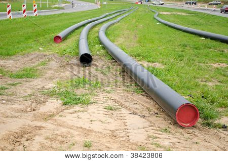 Electricity Cable Wire Protective Tube On Meadow
