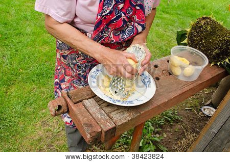 Old Woman Hands Grate Peel Potatoes Steel Shredder