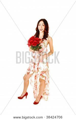 Girl With Bunch Of Roses.