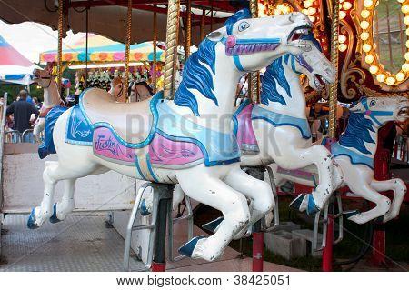Closeup Of Carousel Horses At County Fair