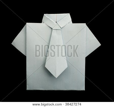 Isolated Paper Made White Plaid Shirt.