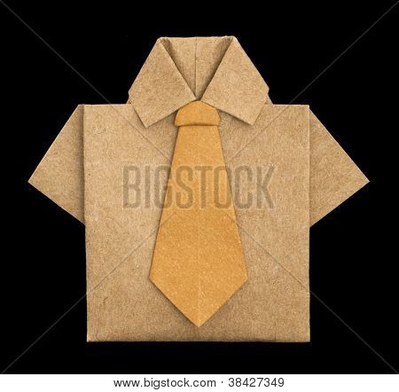 Isolated Paper Made Brown Shirt.