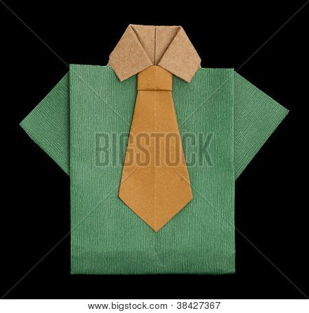 Isolated Paper Made Green Shirt.
