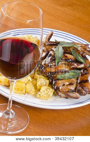 Barbecued Quails and Red Wine