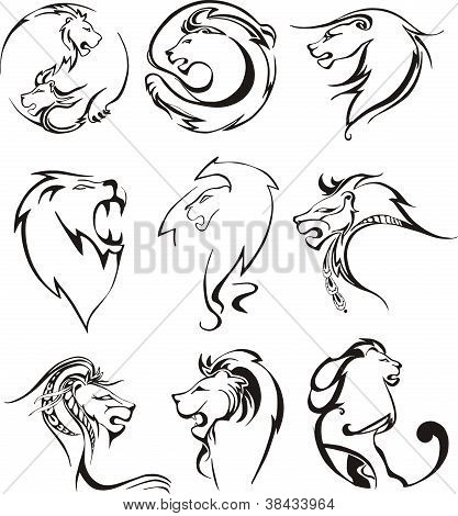 Stylized Lion Heads