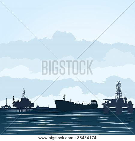 Oil derricks and tankers