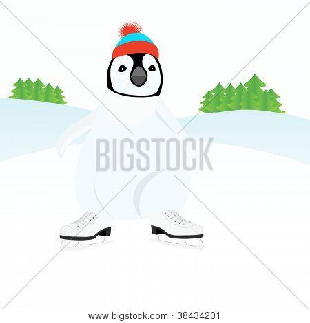 Penguin on the skates