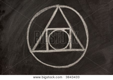 Alchemy Symbol On A Blackboard